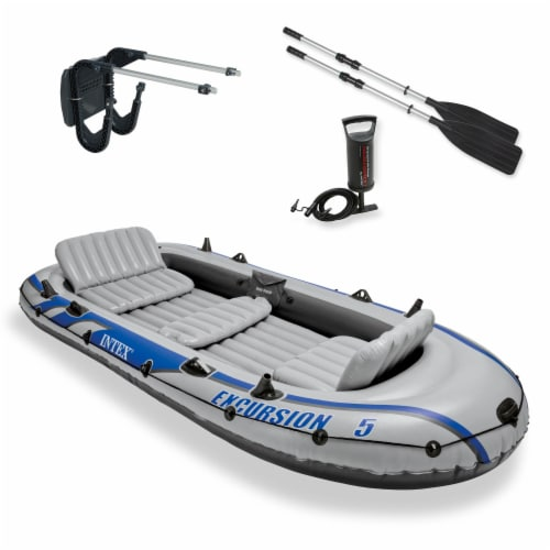 Intex Excursion 5 Inflatable Rafting and Fishing Boat with Oars & Motor Mount Perspective: front