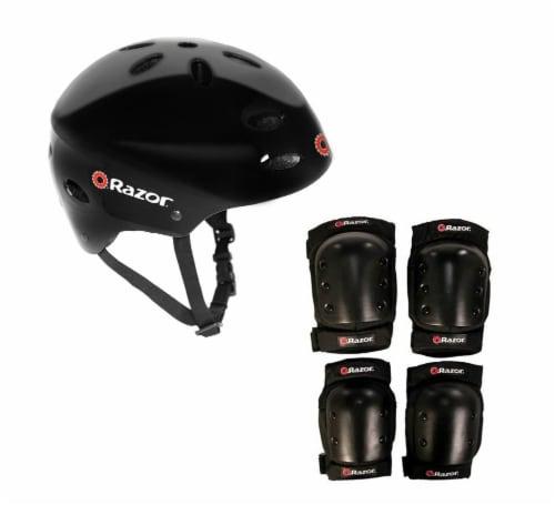 Razor V17 Child Skateboard/Scooter Sport Helmet with Pro Knee & Elbow Pads Set Perspective: front