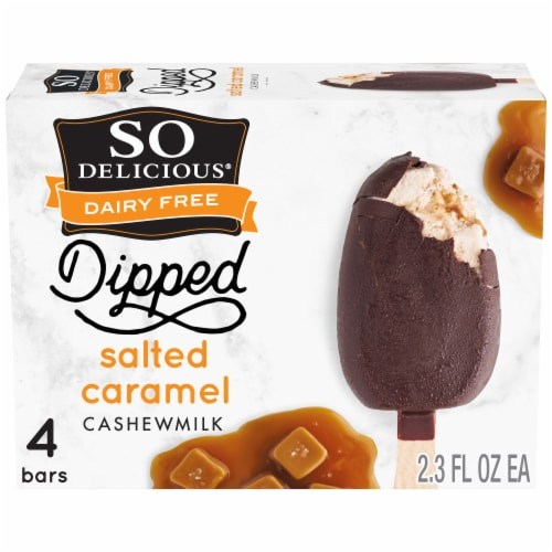 SO Delicious Dipped Salted Caramel Cashew Milk Non-Dairy Frozen Dessert Bars 4 Count Perspective: front