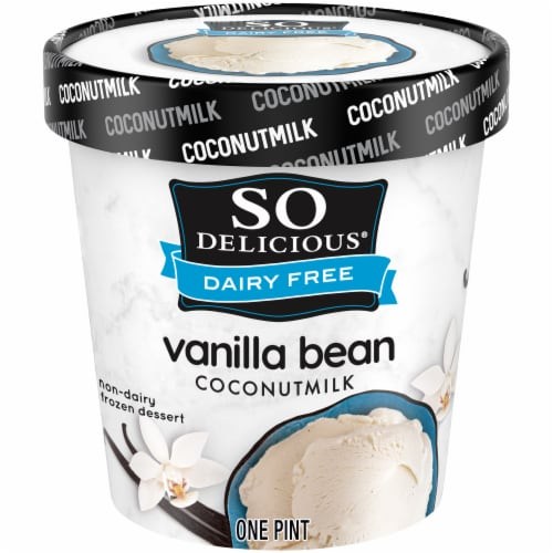 SO Delicious Dairy Free Coconut Milk Vanilla Bean Frozen Dessert Perspective: front