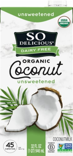 SO Delicious Dairy Free Organic Unsweetened Coconut Milk Perspective: front