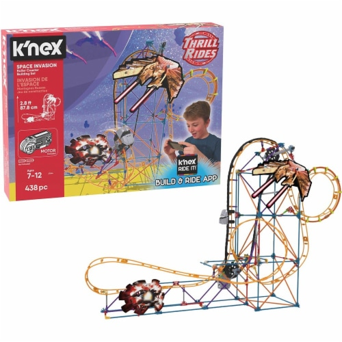 K'NEX Thrill Rides - Space Invasion Roller Coaster Building Set with Ride It! App - 438 Piece Perspective: front