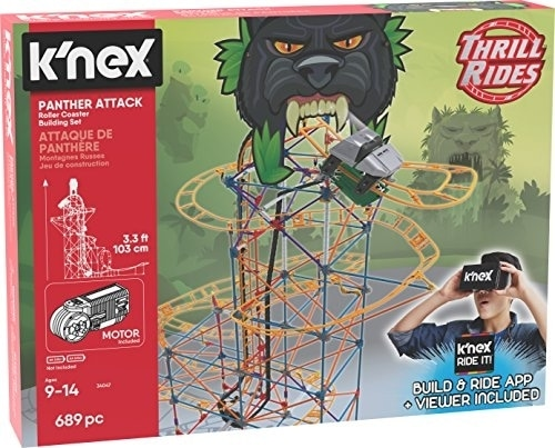 K Nex Thrill Rides Panther Attack Roller Coaster Building Set With Ride It App 690 Piece 1 Food 4 Less