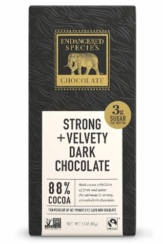 Endangered Species Chocolate Extreme Dark Chocolate Bar, 3 Ounce - 12 per case Perspective: front