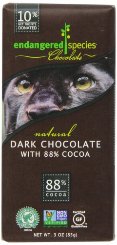 Endangered Species Chocolate Extreme Dark 88% Black Panther, 3-ounces (Pack of 6) Perspective: front