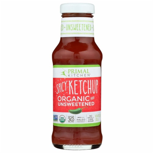 Primal Kitchen Spicy Ketchup Organic and Unsweetened 11.3 Ounce Perspective: front