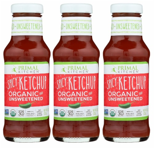Primal Kitchen Spicy Ketchup Organic and Unsweetened 11.3 Ounce | 3-pack Perspective: front