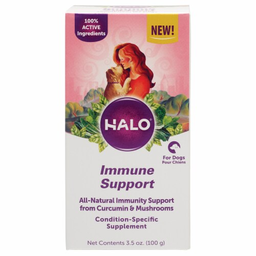 HALO Immune Support Curcumin & Mushroom Natural Dog Supplements Perspective: front