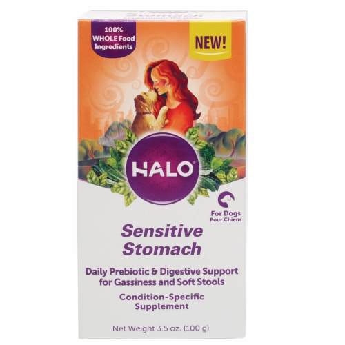 HALO Sensitive Stomach Natural Dog Supplements with Probiotics Perspective: front