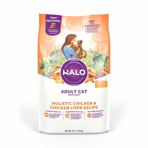 HALO Chicken & Chicken Liver Recipe Natural Dry Cat Food Perspective: front