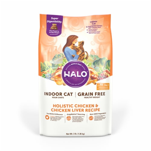 Halo Grain Free Indoor Cat Pour Chats Dry Cat Food - Holistic Chicken and Chicken Liver - 3 lb Perspective: front