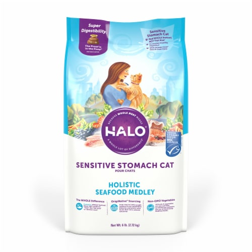 HALO Sensitive Stomach Seafood Medley Natural Dry Cat Food Perspective: front