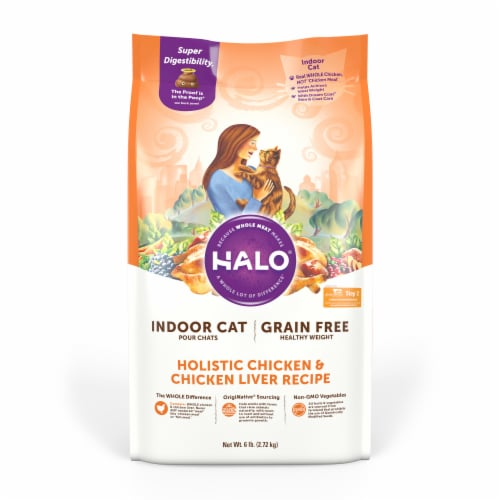 HALO Indoor Chicken & Chicken Liver Recipe Grain Free Natural Dry Cat Food Perspective: front