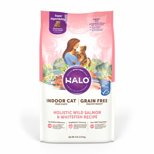 HALO Indoor Salmon & Whitefish Recipe Grain Free Natural Dry Cat Food Perspective: front