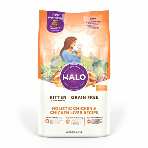 HALO Grain Free Chicken & Chicken Liver Natural Dry Kitten Food Perspective: front