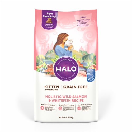 HALO Grain Free Wild Salmon & Whitefish Natural Dry Kitten Food Perspective: front