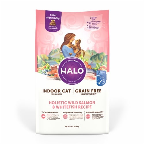 HALO Grain Free Wild Salmon & Whitefish Natural Dry Adult Indoor Cat Food Perspective: front