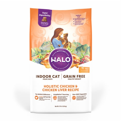 HALO Grain Free Chicken & Chicken Liver Natural Dry Adult Indoor Cat Food Perspective: front