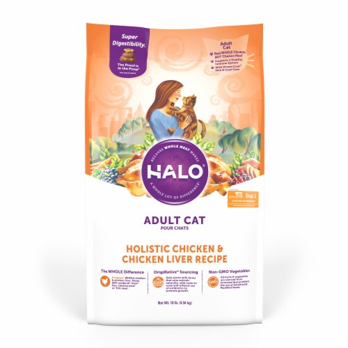 HALO Chicken & Chicken Liver Natural Dry Adult Cat Food Perspective: front