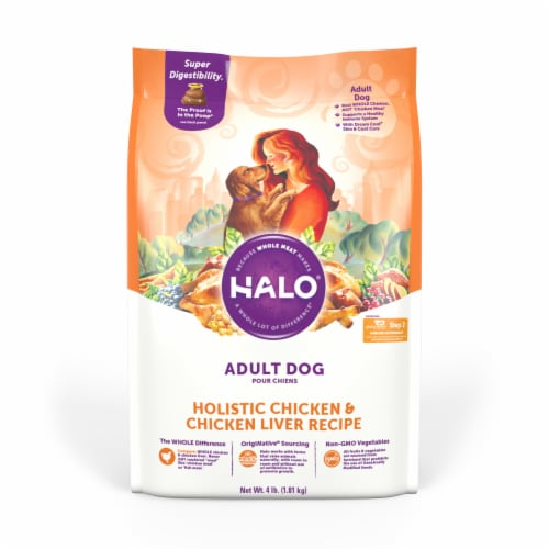 HALO Holistic Chicken & Chicken Liver Dog Food Perspective: front