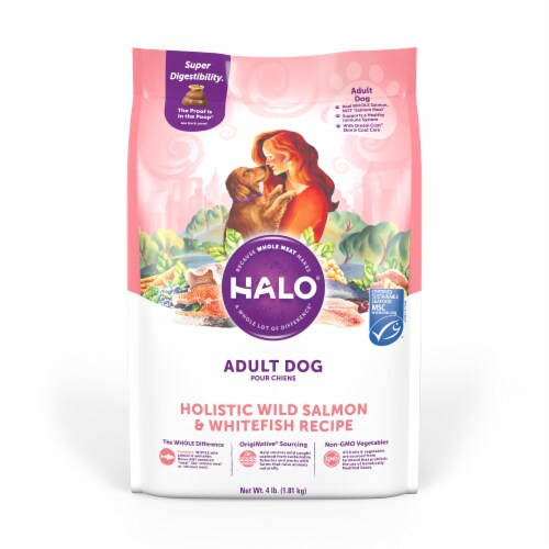 HALO Wild Salmon & Whitefish Recipe Natural Dry Dog Food Perspective: front