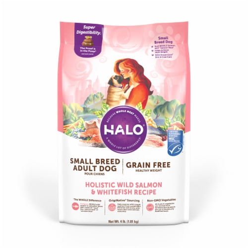 HALO Small Breed Healthy Weight Salmon & Whitefish Grain Free Natural Dry Dog Food Perspective: front
