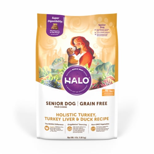 HALO Grain Free Turkey Liver and Duck Recipe Senior Dog Food Perspective: front