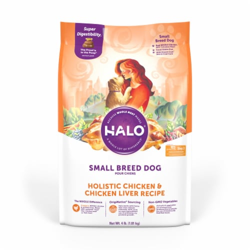 HALO Small Breed Chicken & Chicken Liver Recipe Natural Dry Dog Food Perspective: front