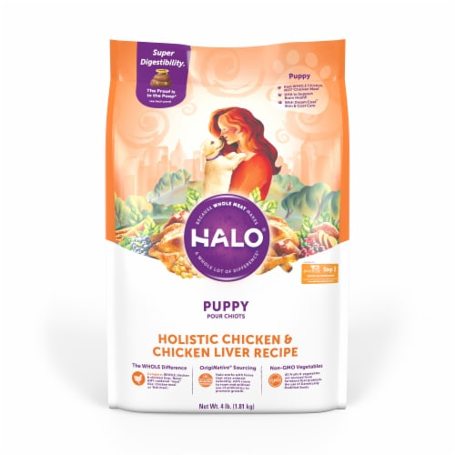 HALO Chicken & Chicken Liver Recipe Natural Dry Puppy Food Perspective: front