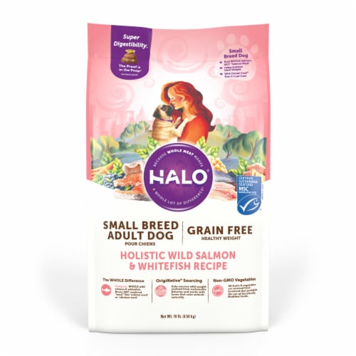 HALO Small Breed Salmon & Whitefish Recipe Grain Free Natural Dry Dog Food Perspective: front