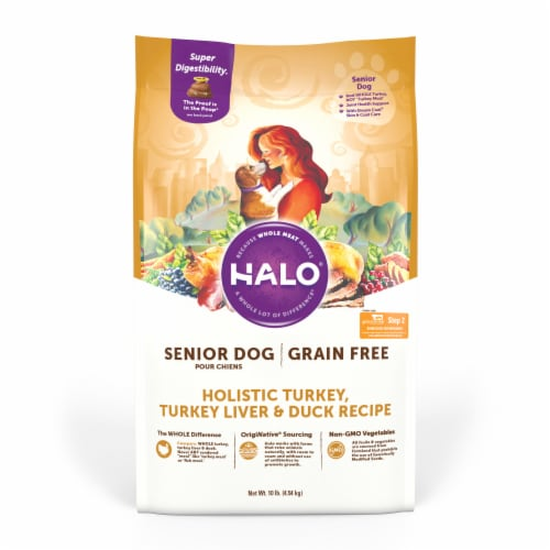 HALO Grain Free Turkey Liver & Duck Dry Natural Senior Dog Food Perspective: front