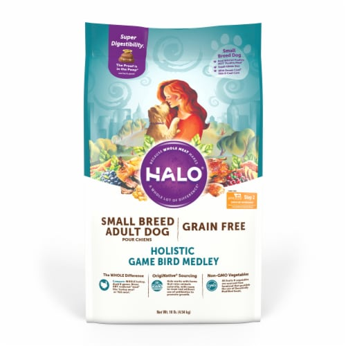 HALO Small Breed Game Bird Medley Grain Free Natural Dry Dog Food Perspective: front