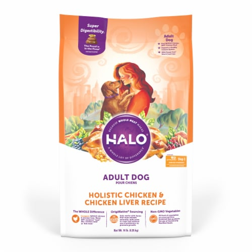 HALO Chicken & Chicken Liver Recipe Natural Dry Adult Dog Food Perspective: front
