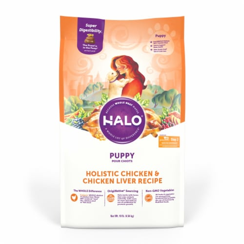 HALO Chicken & Chicken Liver Natural Dry Puppy Food Perspective: front