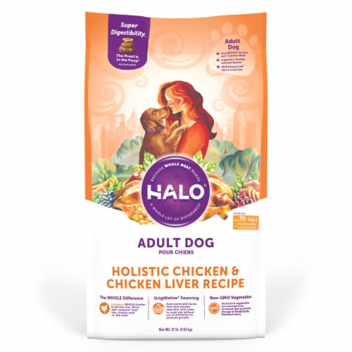 Halo Holistic Chicken & Chicken Liver Dry Adult Dog Food Perspective: front