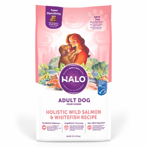 Halo Wild Salmon & Whitefish Natural Dry Dog Food Perspective: front