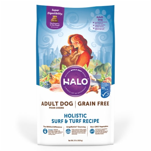 Halo Surf & Turf Grain Free Natural Dry Dog Food Perspective: front