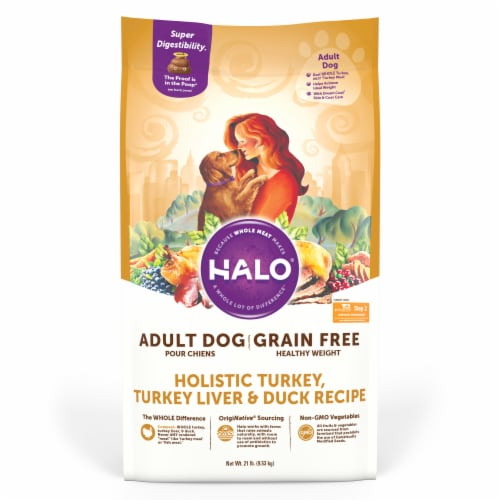 Halo Healthy Weight Turkey Liver & Duck Grain Free Natural Dry Dog Food Perspective: front