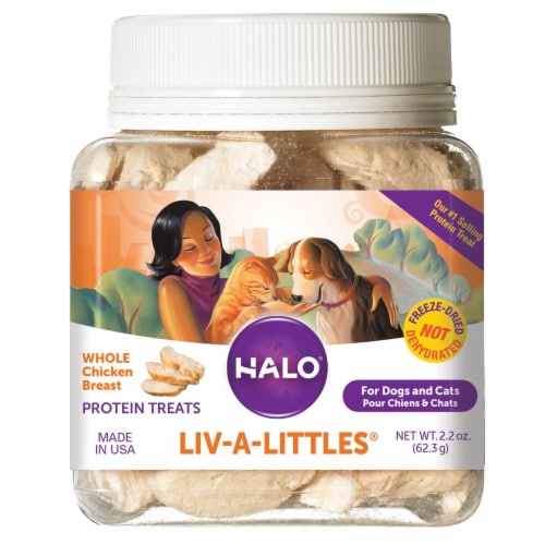 HALO Liv-A-Littles Freeze Dried Chicken Breast Natural Dog & Cat Treats Perspective: front