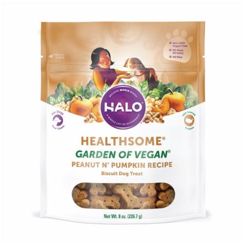 HALO Healthsome Garden of Vegan Peanut N' Pumpkin Biscuit Dog Treats Perspective: front