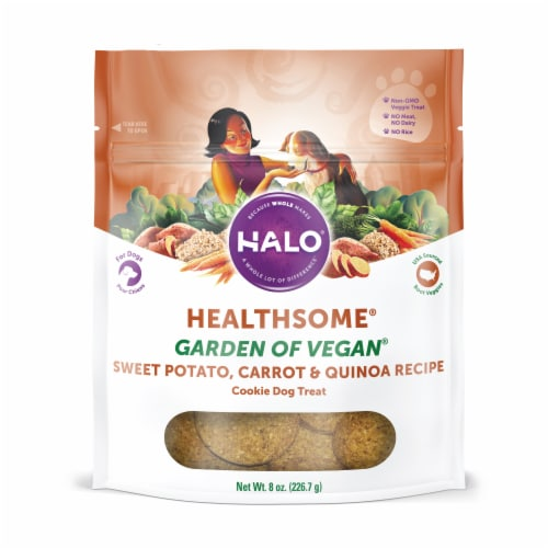 HALO Healthsome Garden of Vegan Sweet Potato Carrot & Quinoa Dog Treat Cookie Perspective: front