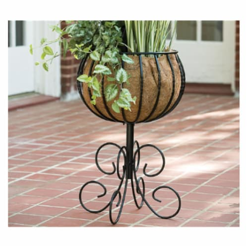 Gardman R11 R954 14 In. Steel Patio Urn With Coco Liner Perspective: front