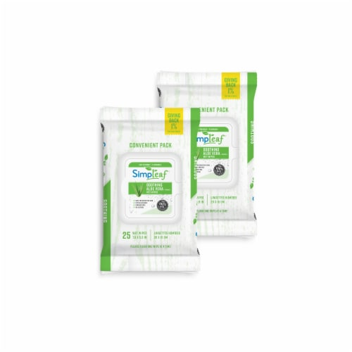 Simpleaf Aloe Vera Flushable Wipes 25 count, 2 packs Perspective: front
