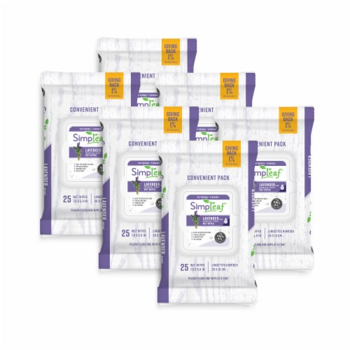 Simpleaf Flushable Wet Wipes Soothing Aloe Vera Formula with Lavender Scent (25Count) 6 PK Perspective: front