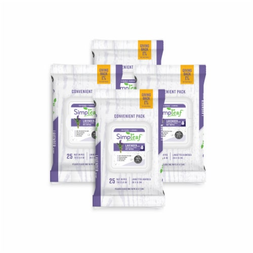 Simpleaf Flushable Wet Wipes Soothing Aloe Vera Formula with Lavender Scent (25Count) 4PK Perspective: front