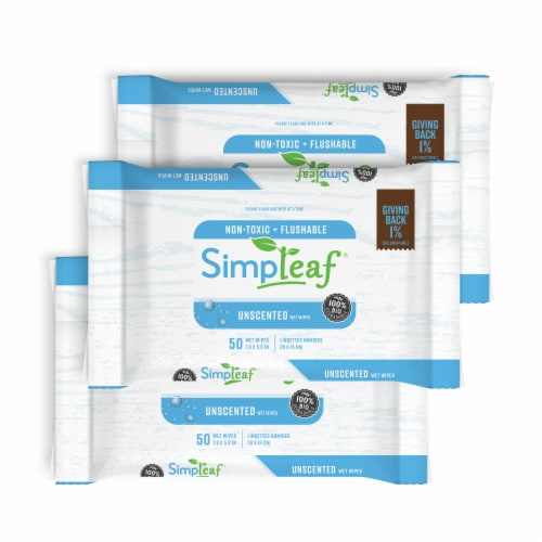 Simpleaf Unscented Flushable Wipes 50 count 3 pack Perspective: front