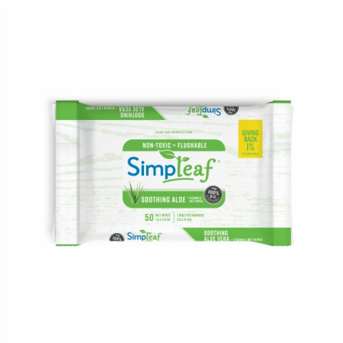Simpleaf Aloe Vera Flushable Wipes 50 count 1 pack Perspective: front