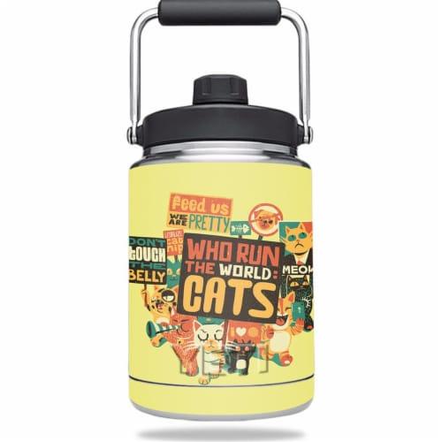 MightySkins YERAMJUG-Cats Run The World Skin for Yeti 0.5 gal Jug - Cats Run the World Perspective: front