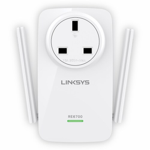 Linksys AC1200 Passthrough Range Extender - White Perspective: front