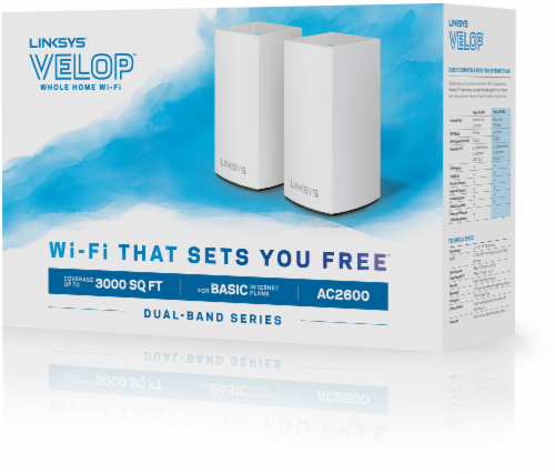 Linksys Velop Intelligent Mesh Wi-Fi System - White (AC2600) Perspective: front